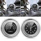 Wasserdicht Universal 7/20,3cm 2,5cm Motorrad Lenkerhalterung Uhr und Thermometer Temp