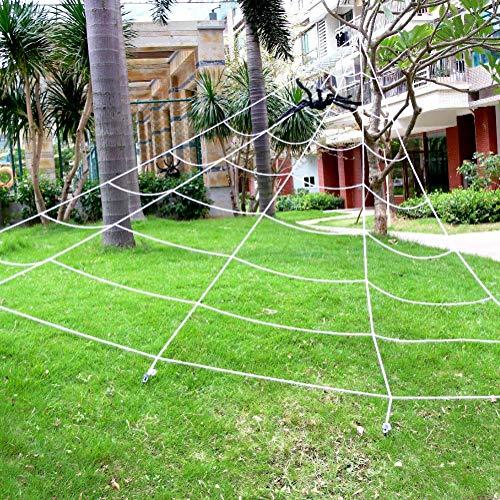 ACParts Halloween-Dekorationsset für den Außenbereich, 90 cm groß, realistisch aussehend, haarige Spinne + 4,4 m Super Yard große Grant Mega Dreiecksspinnennetz Dekor, Spukparty-Requisiten (2er-Pack)