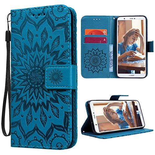 VemMore Huawei P Smart Hülle Handyhülle Schutzhülle Leder PU Wallet Flip Case Bumper Lederhülle Ledercase Blumen Muster Klapphülle Ultra Slim Dünn Magnetisch Sonnenblume - Blau