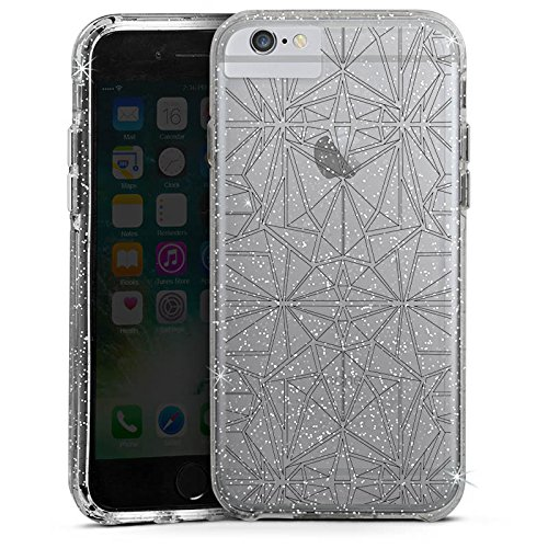 Apple iPhone 6 Plus Bumper Hülle Bumper Case Glitzer Hülle Transparent mit Muster Mandala Kaleidoskop Bumper Case Glitzer silber