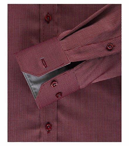 Venti - Slim Fit - Herren uninahes Struktur Hemd, Bügelfrei aus 100% Baumwolle mit Kent Kragen (162613300) Rot (400)
