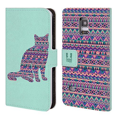 Head Case Designs Katze Gemustert Tiere Silhouettes Brieftasche Handyhülle aus Leder für Samsung Galaxy S5 Mini