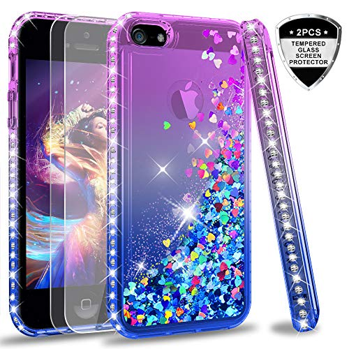 LeYi Compatible with Hülle iPhone 5S / iPhone SE/iPhone 5 / iPhone SE 2 Glitzer Handyhülle mit Panzerglas Schutzfolie(2 Stück),Cover Schutzhülle für Case Handy Hüllen ZX Gradient Purple Blue