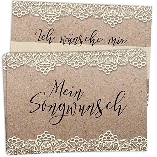 50 Musikwunschkarten für Hochzeit im Vintage/Kraftpapier Look mit Spitze - hochwertiger Premium-Karton, DIN A7