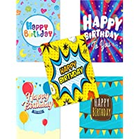 15 Budget Mix Fun Birthday Cards & Envelopes by Greetingles. 5 Designs. Made in UK