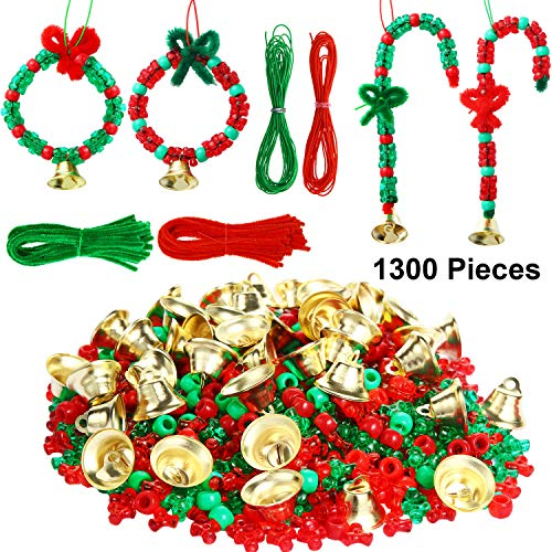Christmas Beads Ornament Kit for Kids, 1000 Pieces Tri Beads, 200 Pieces Plastic Beads,50 Pieces Chenille Stems,20 Pieces Bells and 10 m Ropes for Xmas Craft Wreath Holiday Tree Decorations Supplies -