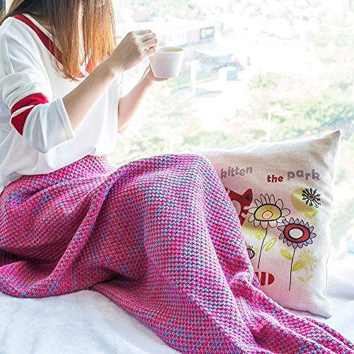 SoldCrazy handgefertigte Meerjungfrauendecke, fuuml;r Kinder und Erwachsene, Fuuml;ße passen in die Flossen, Super weiche und gemütliche Baumwolle, baumwolle, Rot, Adults Style