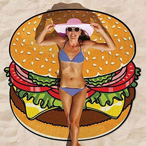 Baffect® Gasa y Poliéster 150 * 150 cm de la toalla de playa Beach Blanket redonda circular Mantel algodón toalla de playa de picnic Mat (hamburguesa)