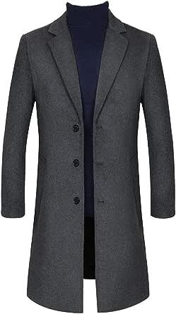 FAXIKIO Men's Long Coat Slim Fit Woolen Trench Coat Winter Warm Single Breasted Overcoat Formal Business Outwear