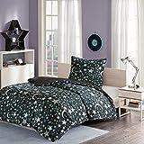 MIZONE Starry Night 2-tlg Kinderbettwäsche Set mit Sternchen und Mond Kinder Mädchen Jugendliche Teenager Moderne Bettgarnitur Schwarz Braun, 135x200cm+80x80cm