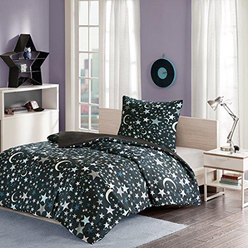 MIZONE Starry Night 2-tlg Kinderbettwäsche Set mit Sternchen und Mond Kinder Mädchen Jugendliche Teenager moderne Bettgarnitur schwarz braun, 135x200cm+80x80cm (Sterne Und Mond Bettdecke)