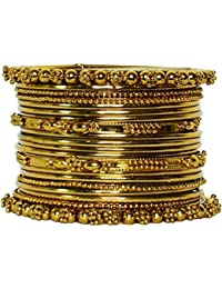JDX Traditional Wedding Gold-Plated Bangles Bracelets Set For Women Size_2.8