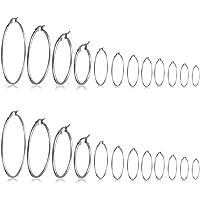 LEEQ 12 Paia Cerchio Orecchini Piercing Orecchio Cerchi in Acciaio Inox Anelli per Donne Ragazze, 12 Taglie, 20-75 mm