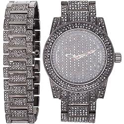 High Quality BLING MASTER FULL ICED Watch + Bracelet hem