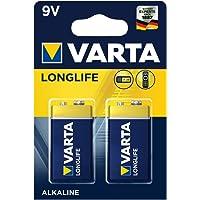 Varta Pack de 2 Piles Alcalines Longlife 9 V
