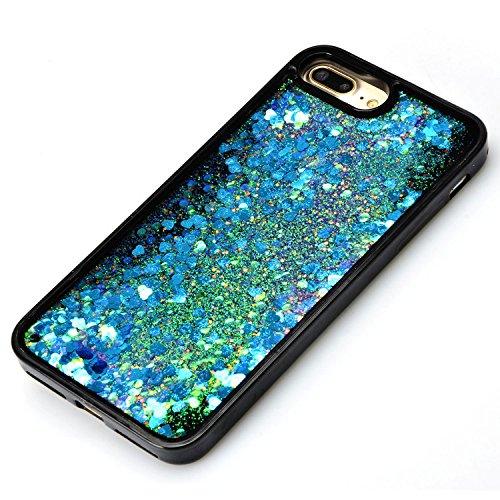Coque Sparkle Paillette Case pour iPhone 7 Plus (5.5 pouces),Sunroyal Glitter Liquide Sables Mouvant 3D Flowing Briller Sparkles Diamant Etui Housse Soft TPU Silicone Dual Layer Transparent Skin flux  Bleu