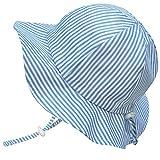 Chapeau contre le soleil pour les tout-petits avec mentonnière, cordon d'ajustement de la taille de la tête, respirant , FPS de 50+ (M: 6mois-3Ans, Rayures bleues )