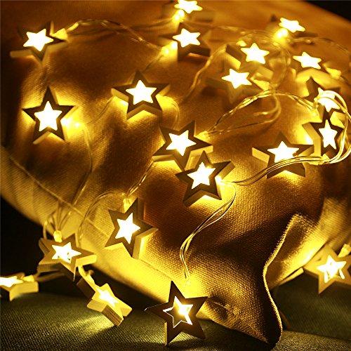 InnoBeta Serie de Luces led guirnaldas Decorativas, LED Luces de Navidad para Interiores con Forma de Estrella de Madera