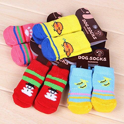 HMOCNV Calcetines antideslizantes de punto de algodón para mascotas, perro, cachorro, gato, calcetines calientes para caminar, zapatillas divertidas, vestido de fantasía