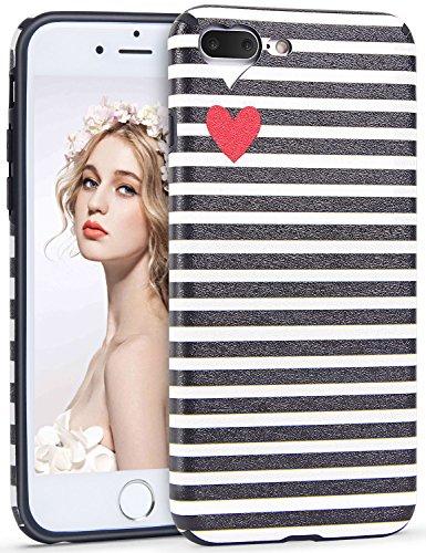 Imikoko iPhone 7 Plus Hülle,iPhone 8 Plus Hülle, iPhone 7 Plus/8 Plus Rundumschutz Handy Hülle Schutzhülle Weich Silikon TPU Case Streifen Super Sweet Cute für Girl Frauen Mädchen