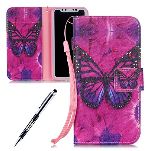 iPhone X Custodia, iPhone X Custodia Pelle, iPhone X Custodia Portafoglio, JAWSEU Pittura Colorata Creativo Lusso PU Leather Flip Cover Custodia per iPhone X Protectiva Bumper con Morbida Gel Silicone Farfalla