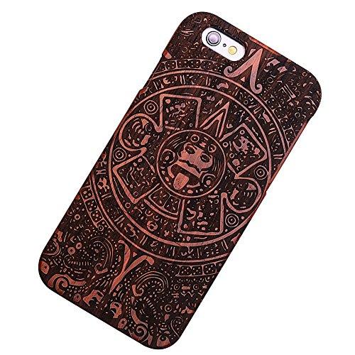 Forepin® Natur Holz Wood Hülle Handyhülle Echtem Schutz Schale Hart Cover Case Etui für iPhone 5 5S SE 4.0 Zoll - Wolf Totem