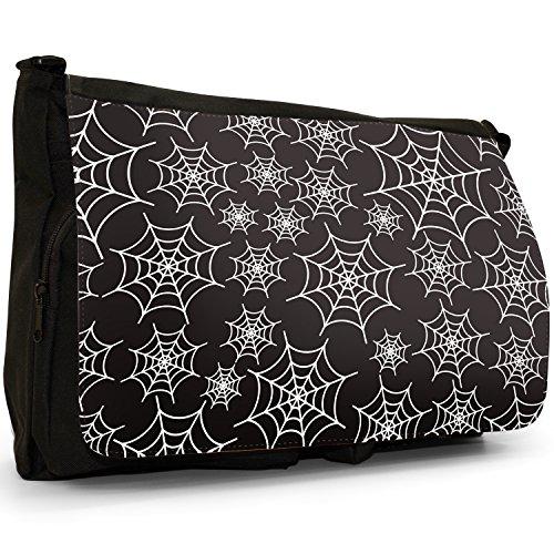 Spider web, taglia da puledro, colore: nero, Borsa Messenger-Borsa a tracolla in tela, borsa per Laptop, scuola White Spider Cobwebs