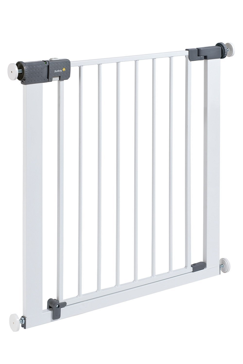 Safety 1st Quick Close ST Extra Secure Metal Child Safety Gate Stair Gate Extension Can be Extended Up to 136cm for Clamping White 73-80cm (from 6-24Months) Safety 1st High quality stair gate made of metal, is suitable for children between approx. 6up to 24months. Extra secure: with SecurTech system, and double locking system. Practical clamping–no drilling or screws required. 2