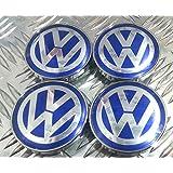 VW azul/cromo set de 4Centro de rueda Caps * * 60mm * *