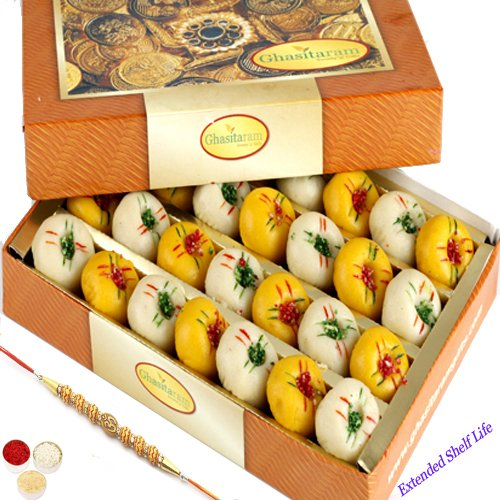 Ghasitaram Gifts Mawa Peda Box with Om Beads Rakhi for Brothers, 200g