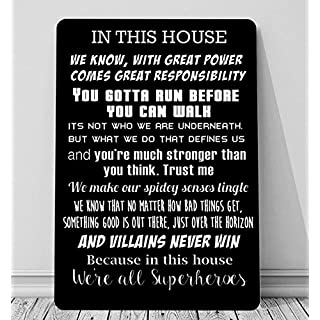 Artylicious In this House we are Superheroes, batman quotes A4 retro metal sign door wall art BLACK