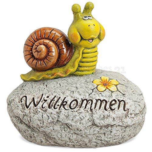 matches21 Schnecke auf Stein mit Schriftzug Willkommen Deko-Figur Ton 1 Stk. 31x21x29 cm