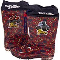 Blaze and the Monster Machines Kids Waterproof Rubber Wellington Wellies Slip-On Winter Character Rain Gumboots Boots for Boys Snow Welly for Children & Toddlers Red Blue - Junior UK Sizes 5-1