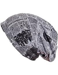 Gadzo Beanie Mütze Zeitung Muster Look Destroyed Vintage Mütze KudiSB14