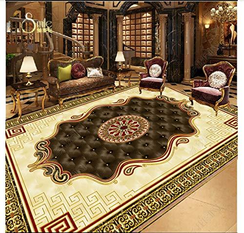 3D Tapete Bodenbelag Wasserdichte Selbstklebende Wandbilder Europäische Decke Europäischen Teppich Werfen Kristall Ziegel Puzzle Boden Malerei 200X140cm (Beige Werfen Und Schwarz Decke)
