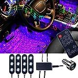 Sfesnid Striscia Luce Interni per Auto Musica Attivata dal Microfono + Telecomando + 7 Colori + Caricabatteria auto USB