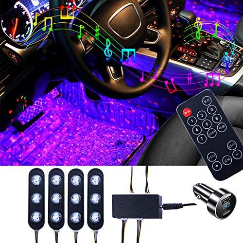 Preisvergleich Produktbild Sfesnid Innenbeleuchtung Auto LED RGB Atmosphäre Licht Innenraumbeleuchtung Streifen innenraum Auto LED Fußraumbeleuchtung mit IR Fernbedienung Musik & Sprachsteuerung