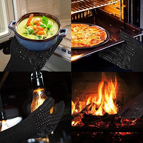 CRXOOX Guantes de Cocina,Guante de Horno Tostador,Guante para BBQ Resistentes al Calor 500 °C,Antideslizante con Silicona