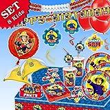 FEUERWEHRMANN SAM Geburtstag-Deko-Set, 87-teilig zum Kindergeburtstag Jungen und Mädchen und Feuerwehr-Motto-Party für 8 Kids