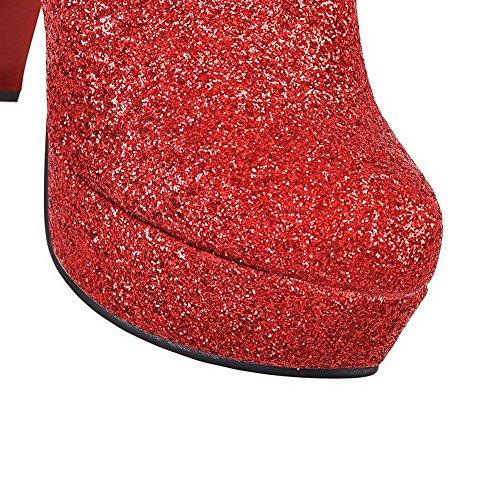 VogueZone009 Donna Puro Tacco Alto Cerniera Punta Tonda Stivali Rosso