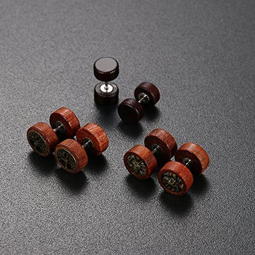 Herren Damen 3 Paare Holz Ohrstecker Set braun , OIDEA gothic Lebensbaum Löwenkopf Edelstahl Ohrringe Set Huggie Piercing Ohr Stecker - 3