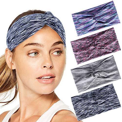 Joinfun sport Fasce per le donne Avvolgere la testa Elasticità idratante Hairband Accessori per capelli ritorti per Yoga/Pilates/Danza/Corsa/Ciclismo/Fitness Esercizio 4 pezzi