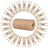 ewtshop® 100 minipinzas de madera + 100 metros de cuerda de yute, pinzas de la ropa, mini pinzas de madera, pinzas decorativa