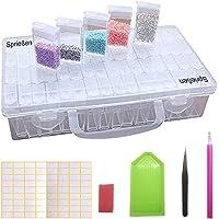 Sprießen Boite Rangement Diamant Broderie, 64 grilles Nail Art Décoration Container+Diamant DIY Kit, Diamant Accessoires…