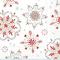 WINTER CRYSTALS white red Christmas Snowflakes Luncheon Paper Table Napkins 20 in a pack 33cm square