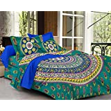 SheetKart Sapphire 144 TC Cotton Double Bedsheet with 2 Pillow Covers - Fine Green