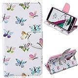 EMAXELERS LG G4 Case Blumen Niedlich Blau Weiß Schmetterling Muster PU Leder Handy SchutzHülle Hüllen mit Standfunktion Kunstleder für LG G4,Colorful Small Butterflies