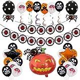 Yidaxing Hallowen Decorazioni Halloween Kit Casa Festone di Palloncini Happy Halloween, Zucca Gigante, Ghirlande di Zucche e Ragni, Halloween e Palloncini Neri e Arancioni