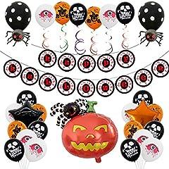 Idea Regalo - Yidaxing Hallowen Decorazioni Halloween Kit Casa Festone di Palloncini Happy Halloween, Zucca Gigante, Ghirlande di Zucche e Ragni, Halloween e Palloncini Neri e Arancioni