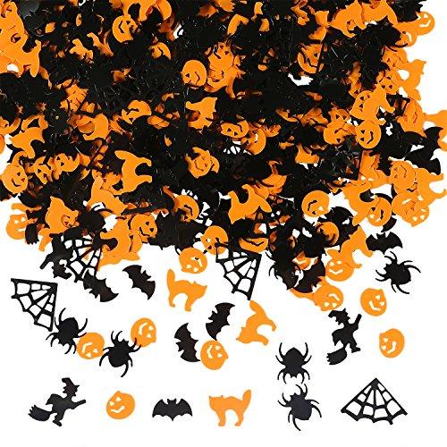 Aneco 150g / 6000 Stück Halloween Konfetti Kürbis Spinne Fledermaus Hexe Katze spritzt Tisch Konfetti Hell Halloween Nacht Dekoration (Diy Dekorationen Scary Halloween)